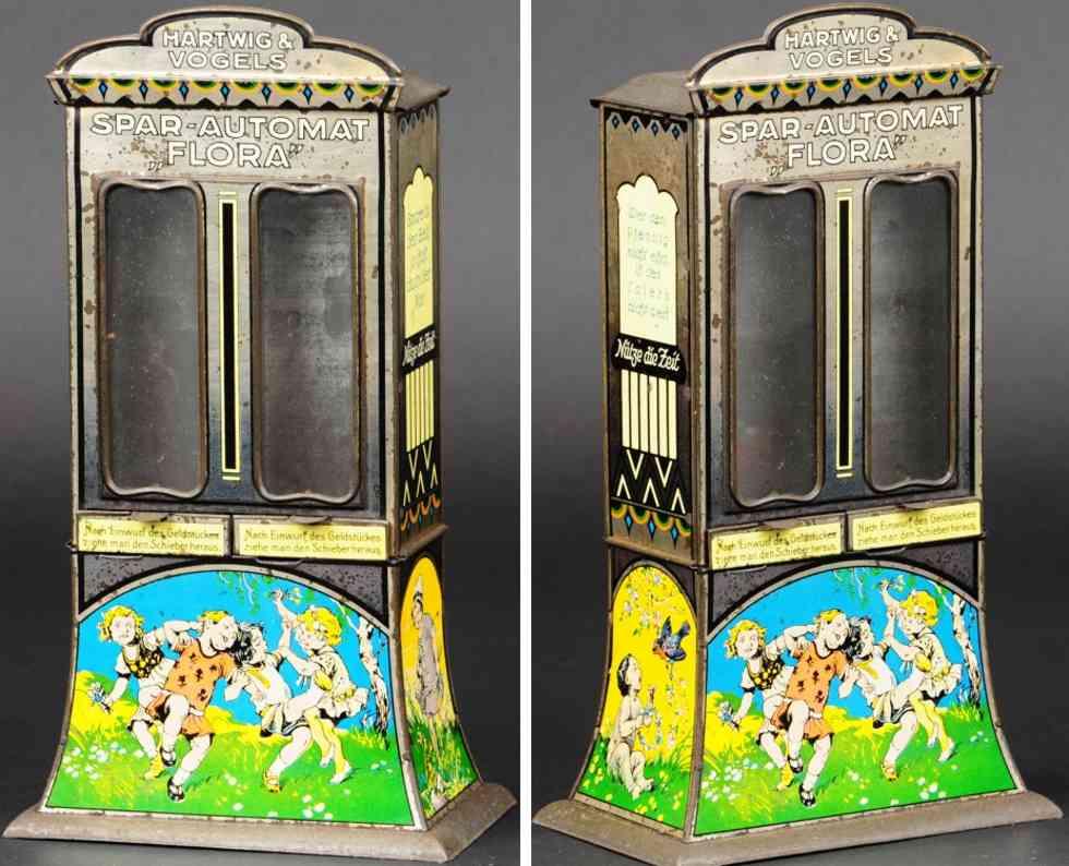 hartwig & vogel blech spielzeug spardose schokoladensautomat flora