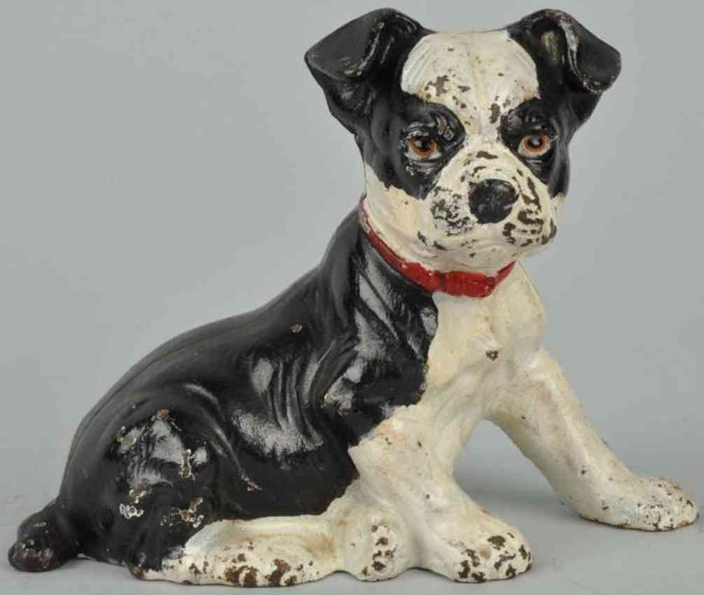 hubley cast iron toy seated dog boston bull still bank black white red collar