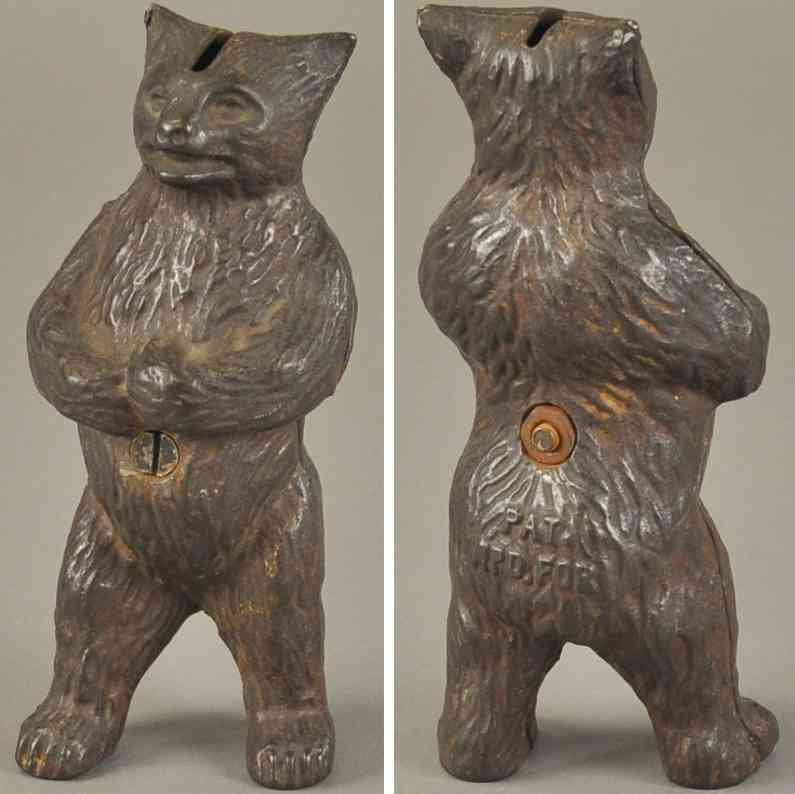 hubley cast iron toy mean standing bear still bank