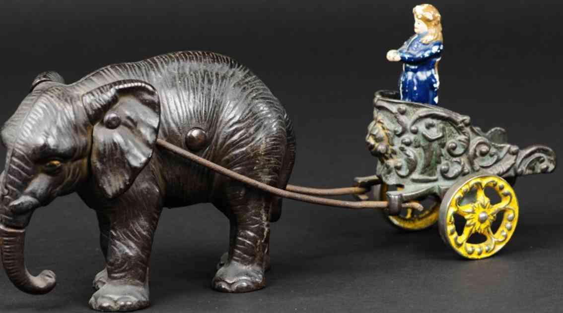 hubley chariot spielzeug gusseisen elefant mit streitwagen als spardose