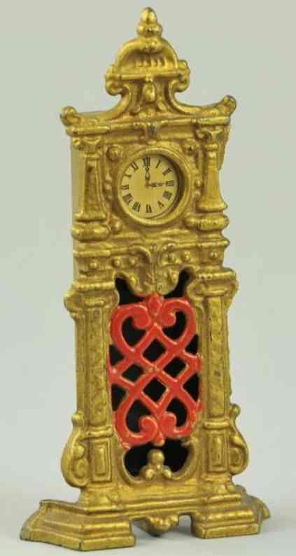 hubley spielzeug gusseisen spardose kunstvolle uhr gold rot