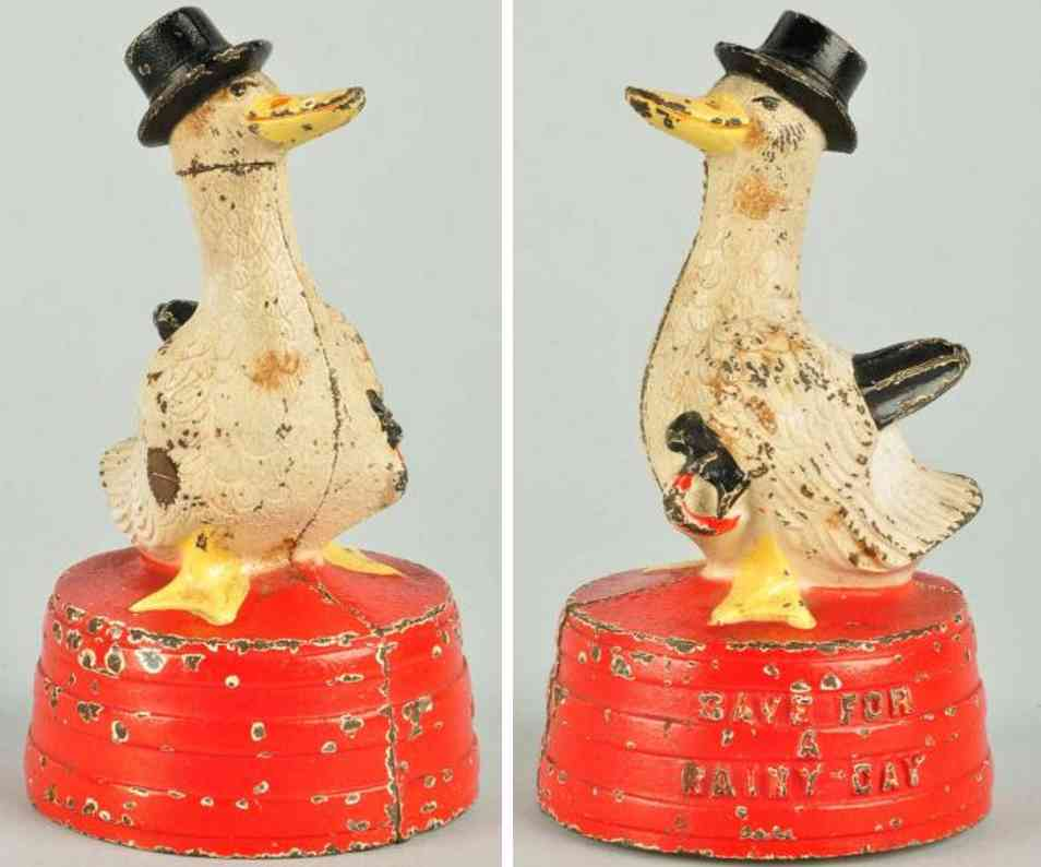 hubley cast iron toy duck on red tub still bank