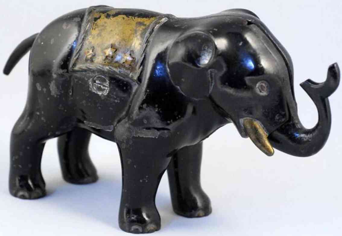 hubley cast iron toy elephant with trunk mechanical bank