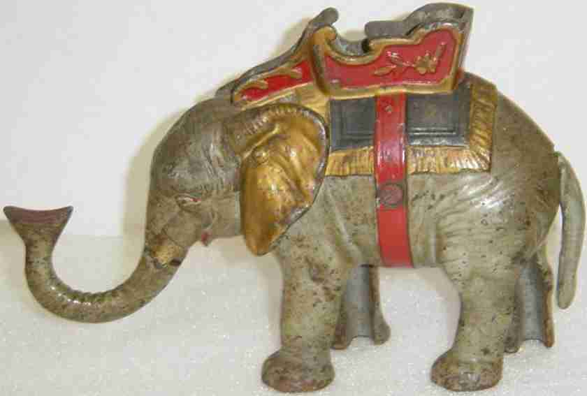 hubley cast iron toy elephant and howdah mechanical bank