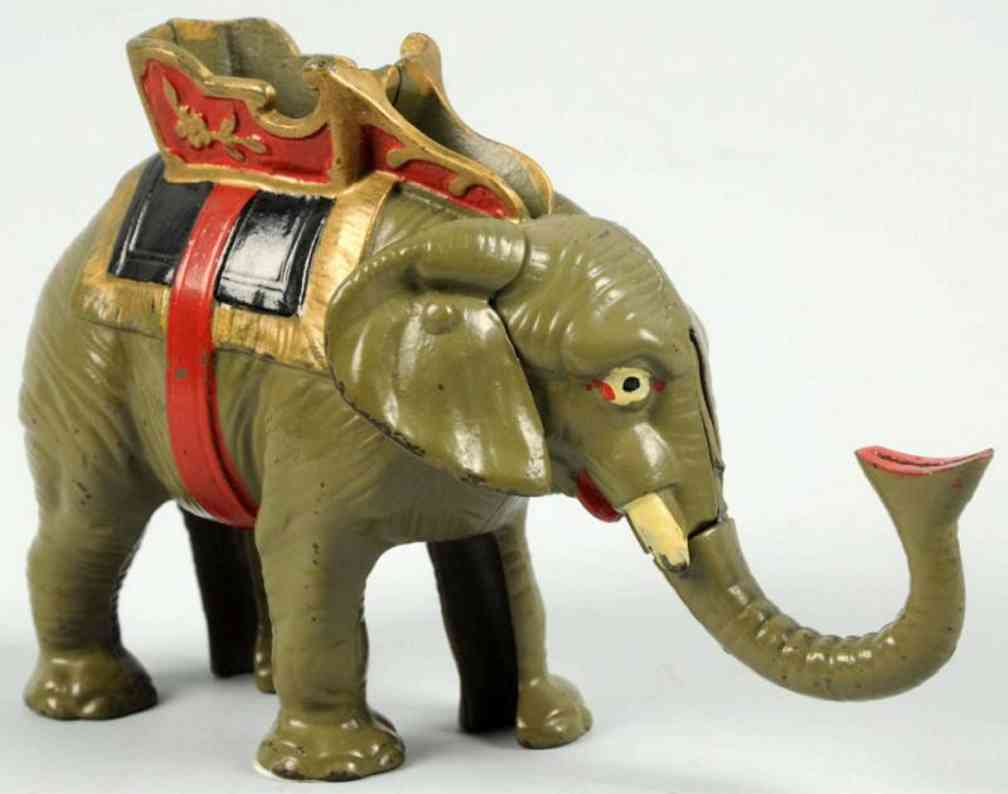 hubley cast iron toy gray elephant mechancial bank