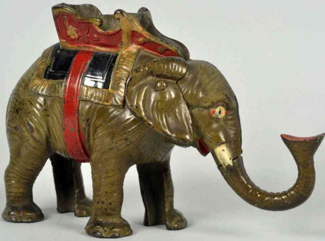 hubley cast iron toy elephant mechanical bank gray variation