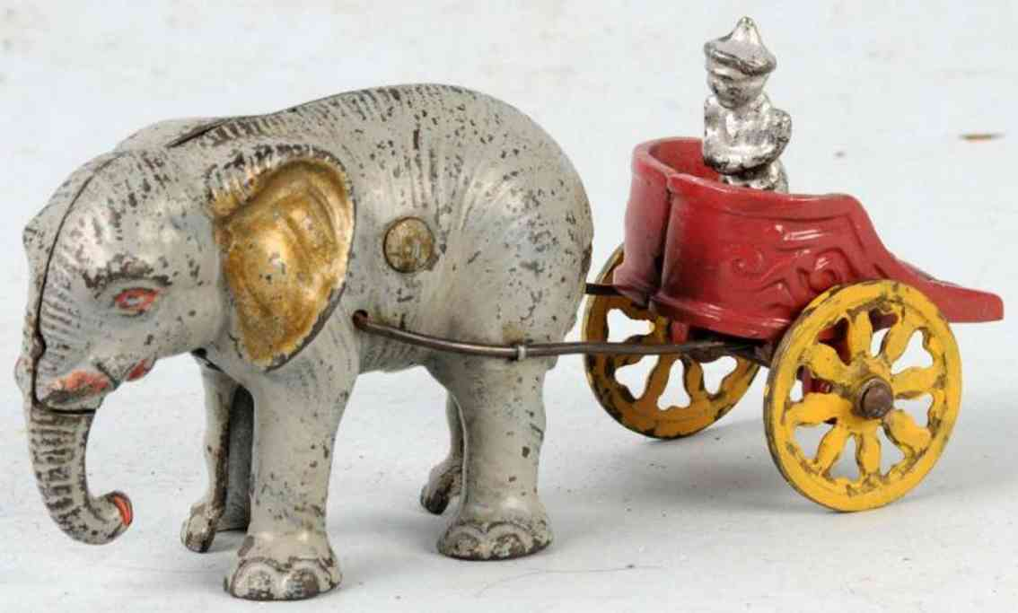hubley cast iron toy elephant chariot bank
