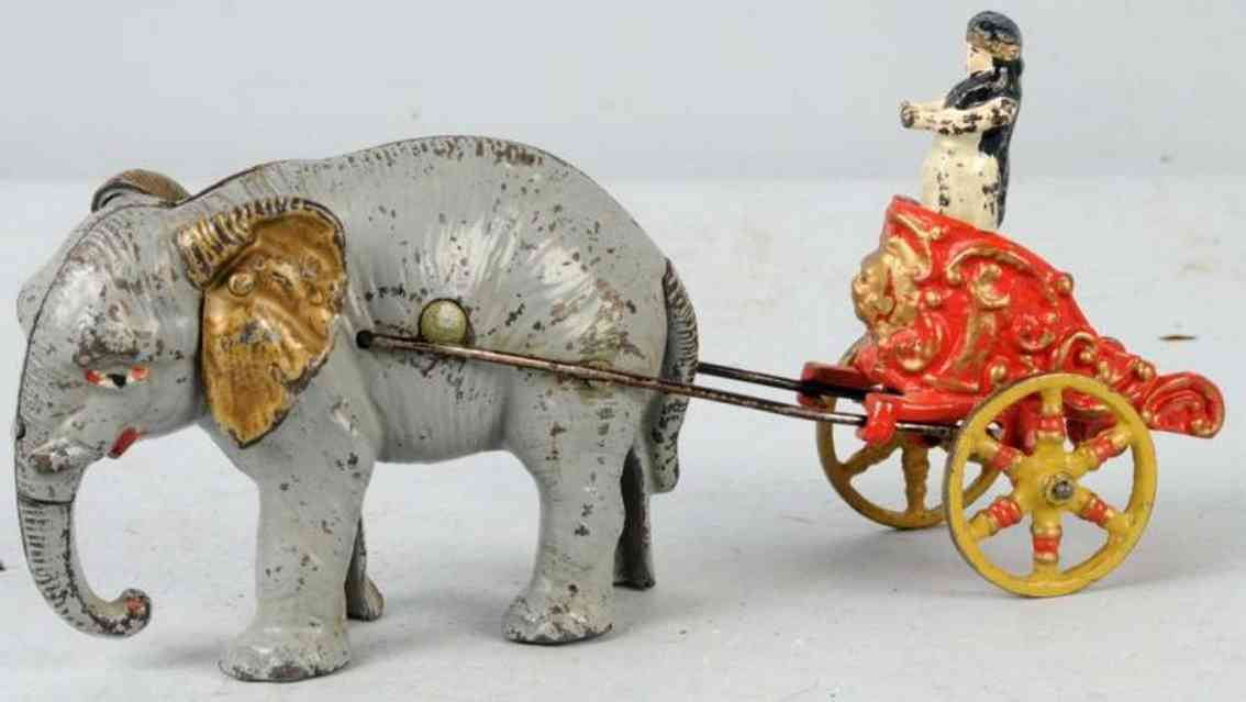Hubley Elephant as bank with chariot and figure