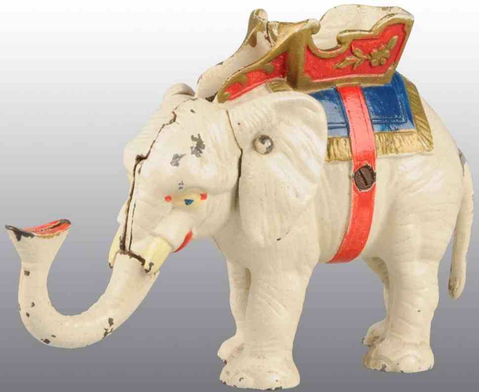hubley cast iron toy elephant pull tail mechanical bank white
