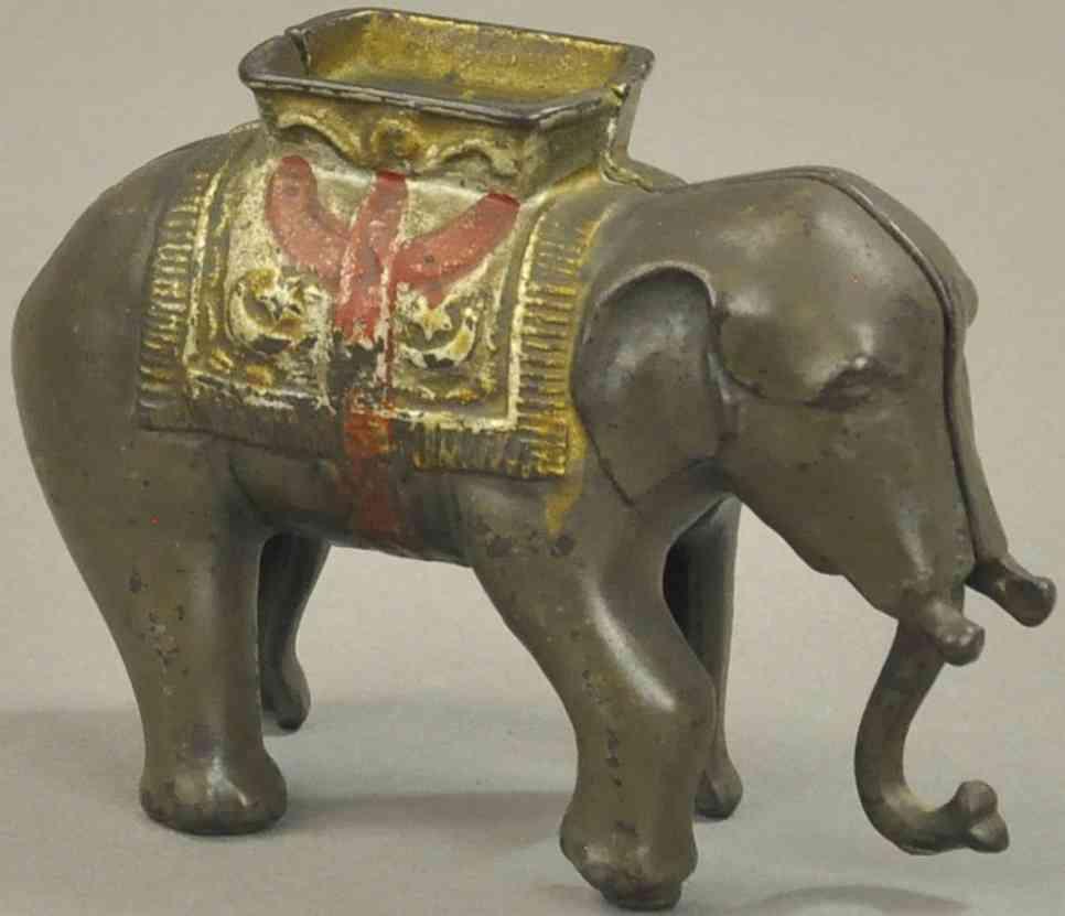 hubley spielzeug gusseisen elefant mit saenfte als spardose grau rot gold