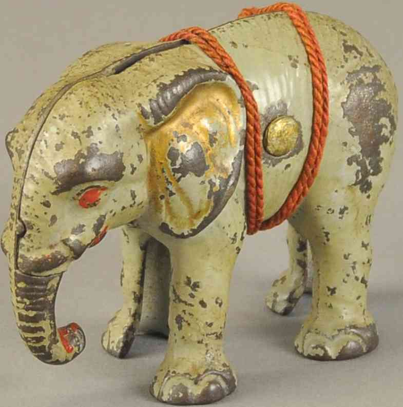 hubley spielzeug gusseisen elefant als spardose grau rot gold