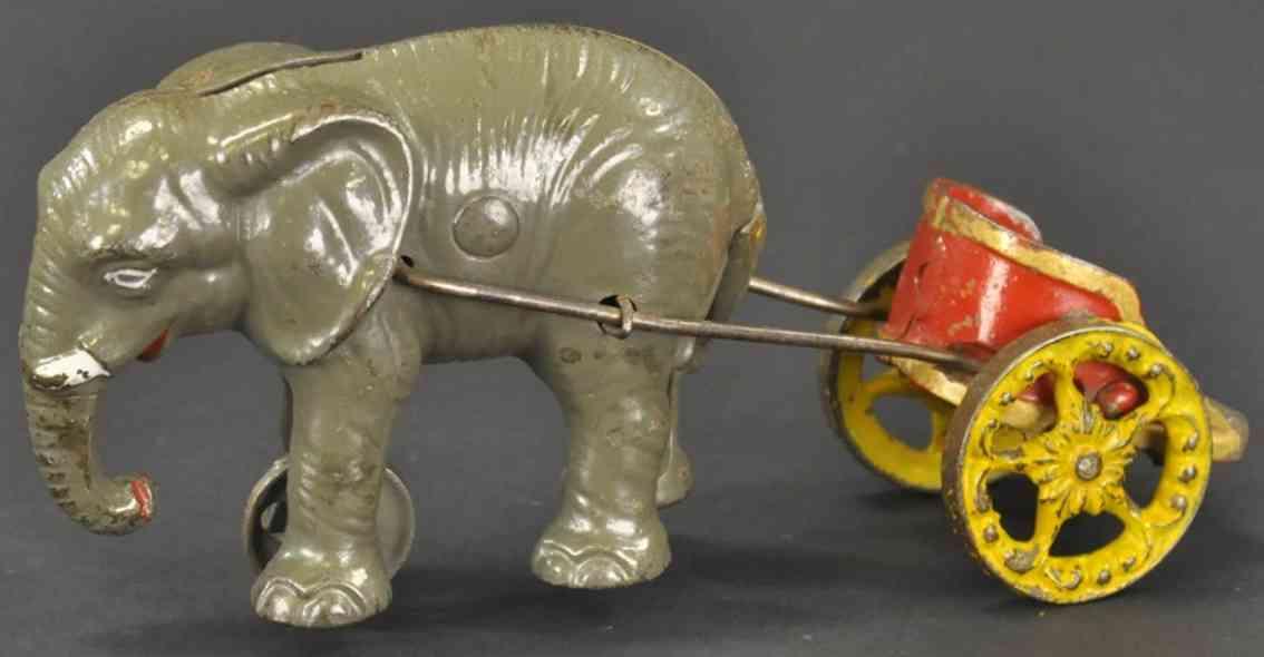hubley spielzeug gusseisen elefant mit streitwagen spardose vorderrad