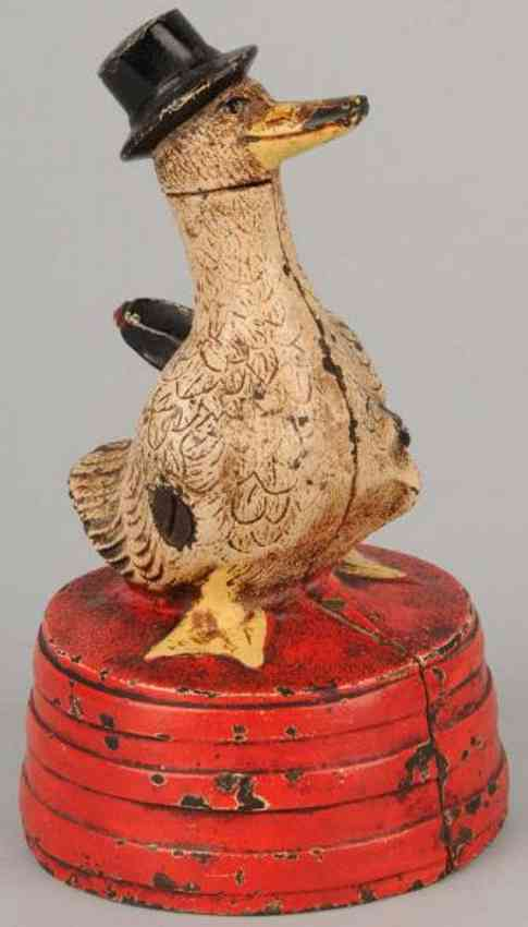 hubley cast iron toy duck on tub still bank save for a rainy day