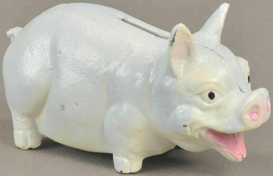 hubley spielzeug gusseisen lachendes schwein als spardose blau weiss grau pink