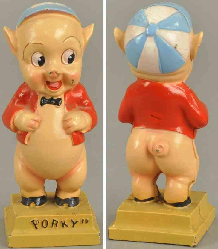 hubley spielzeug gusseisen schwein porky als spardose stehend