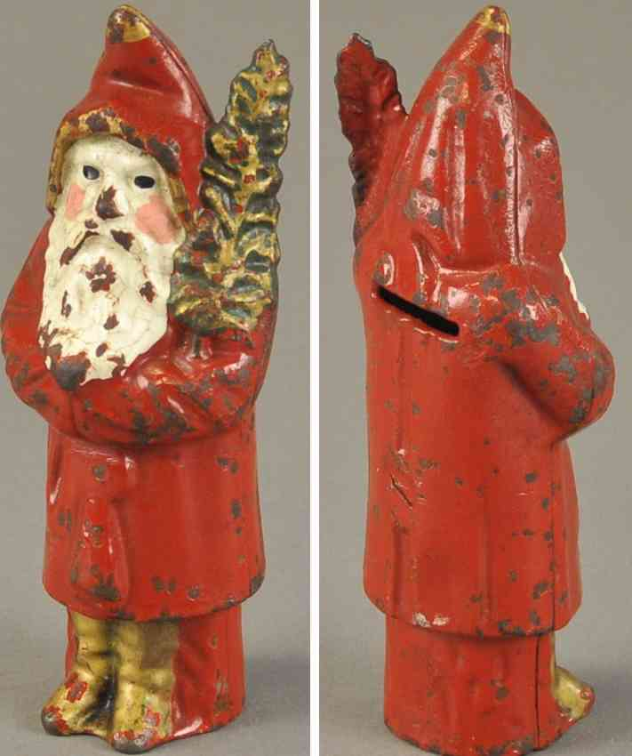 hubley spielzeug gusseisen spardose weihnachtsmann mit baum  rot gold