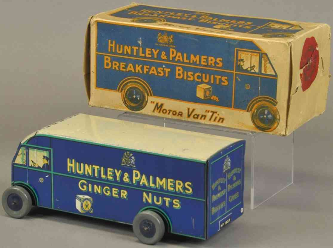 huntley & palmers blech spielzeug spardose tribrek wagen