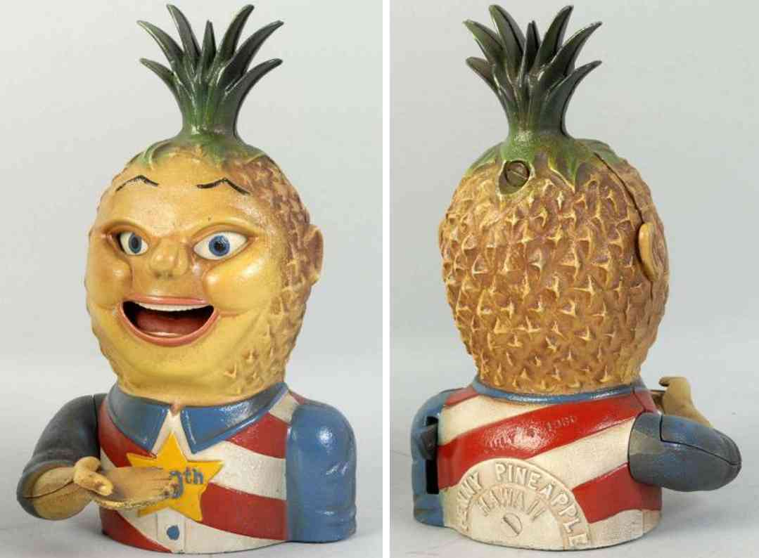 imswiler & saylor cast iron toy penny pineapple mechanical bank