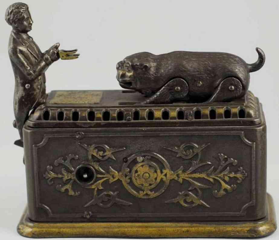 ives cast iron toy snapping bull dog mechanical bank