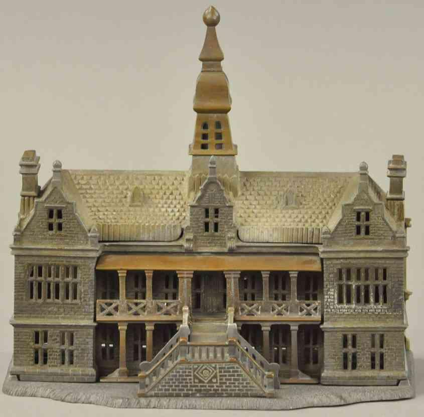 ives cast iron toy palace still bank brass pattern