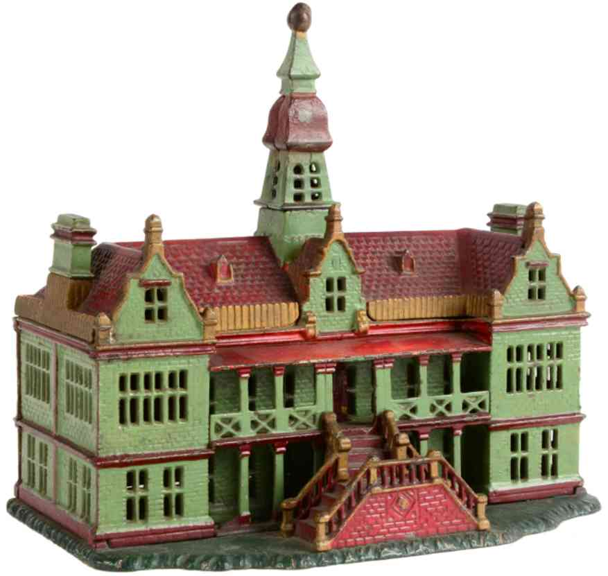 ives cast iron toy palace still bank painted green