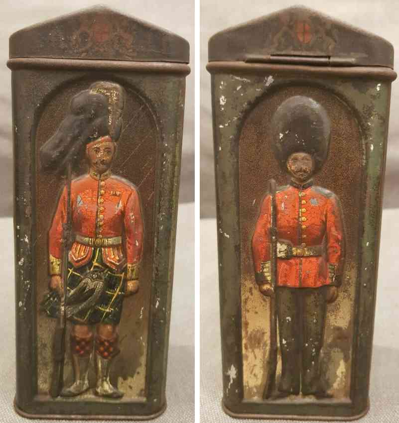 john hill & son tin toy figural sentry box biscuit tin palace guard buckingham