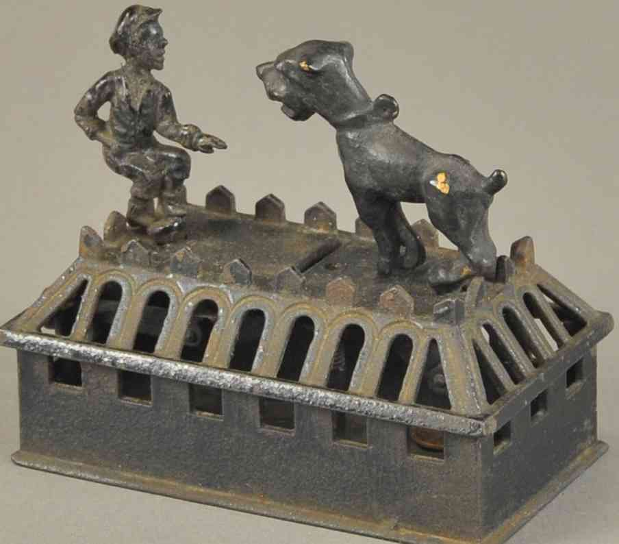 judd hl cast iron toy boy and bulldog mechanical bank
