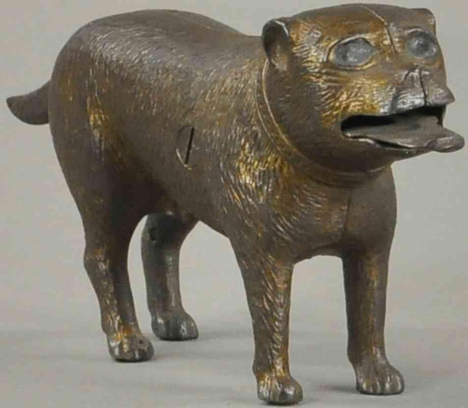 judd hl spielzeug gusseisen spardose stehende bulldogge  goldfarben