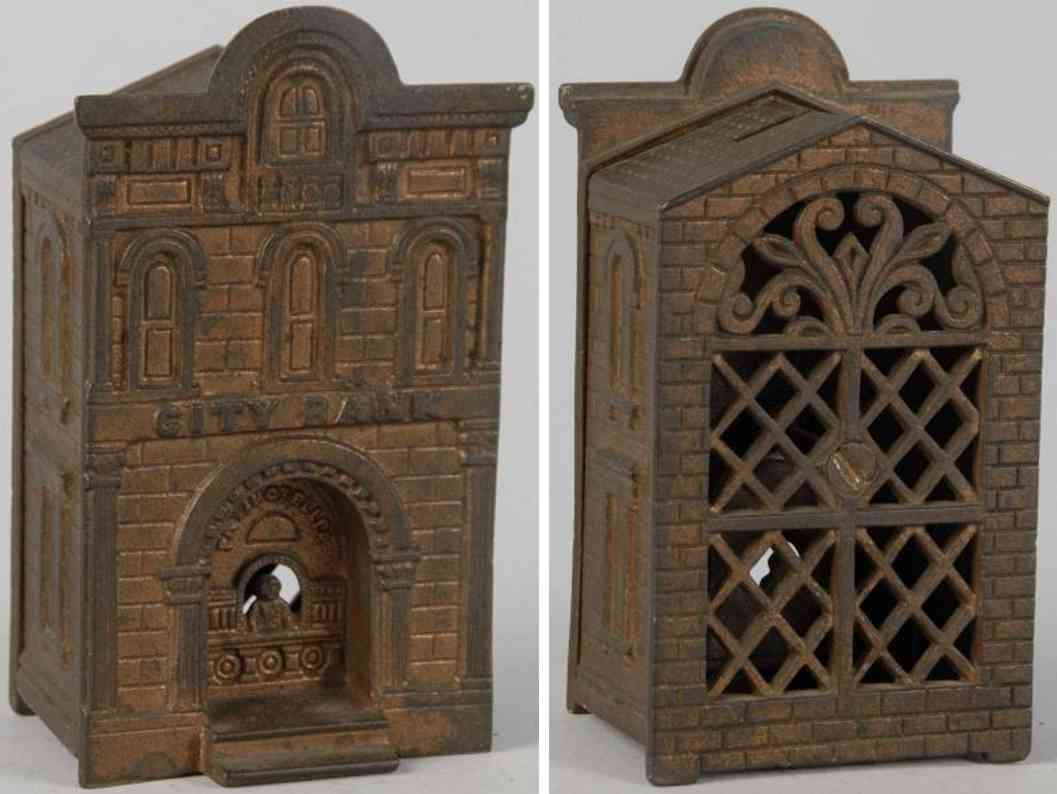 judd hl cast iron toy bank with teller still bank