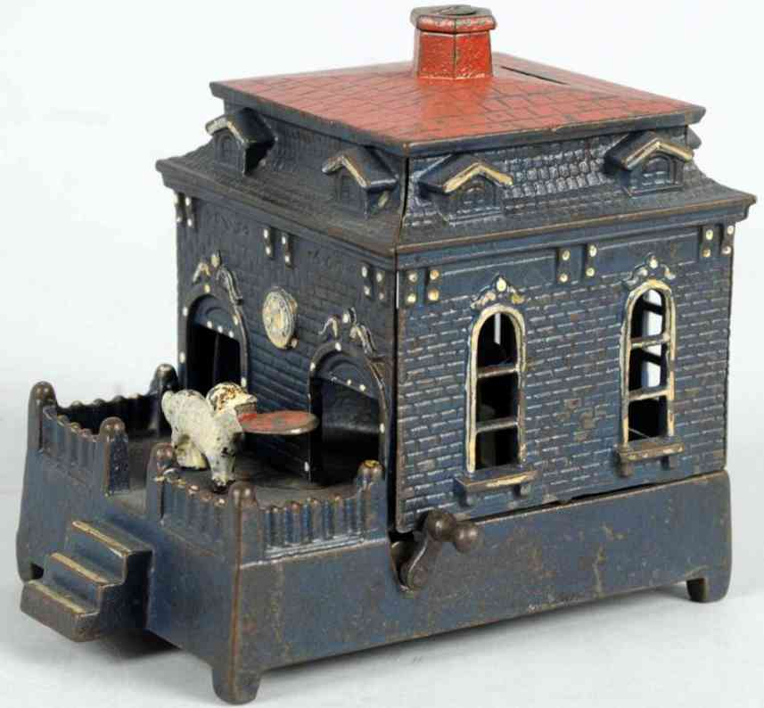 judd hl cast iron toy dog on turntable bank blue