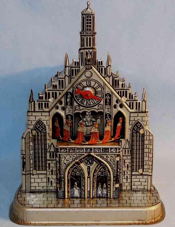 Kellermann 301 Nürnberger Frauenkirche als Spardose mit Uhrwerk aus Blech