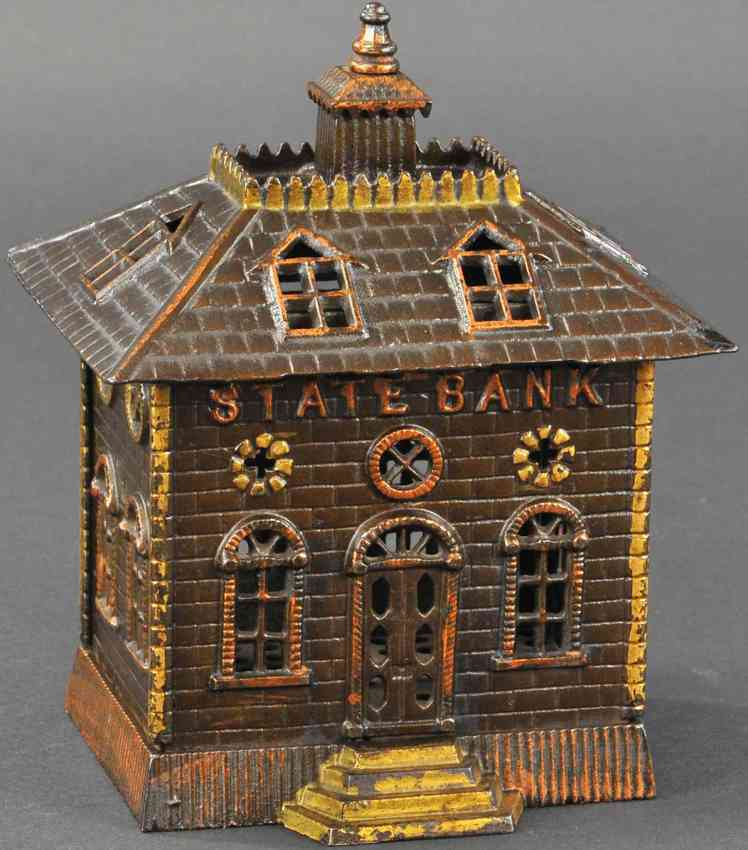 kenton hardware co cast iron toy state bank still bank fixed door