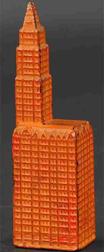 kenton hardware co spielzeug gusseisen woolworth gebaeude als spardose rot