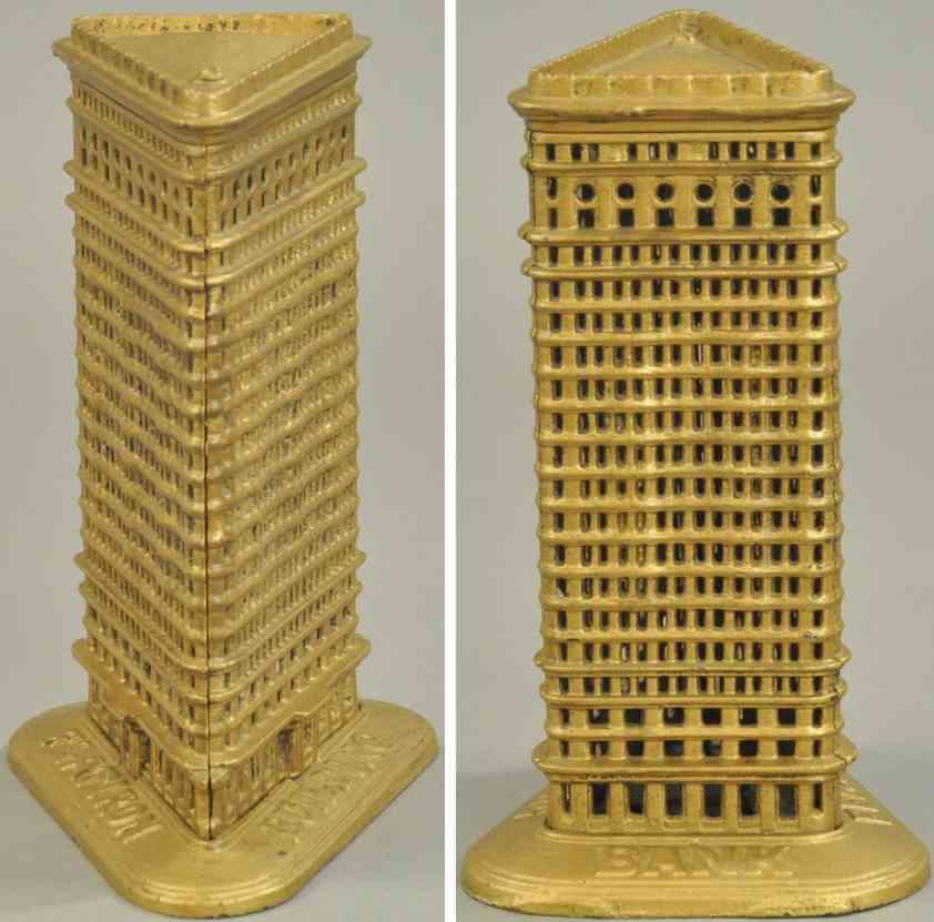 kenton hardware co spielzeug gusseisen hochhaus flachdach spardose gold