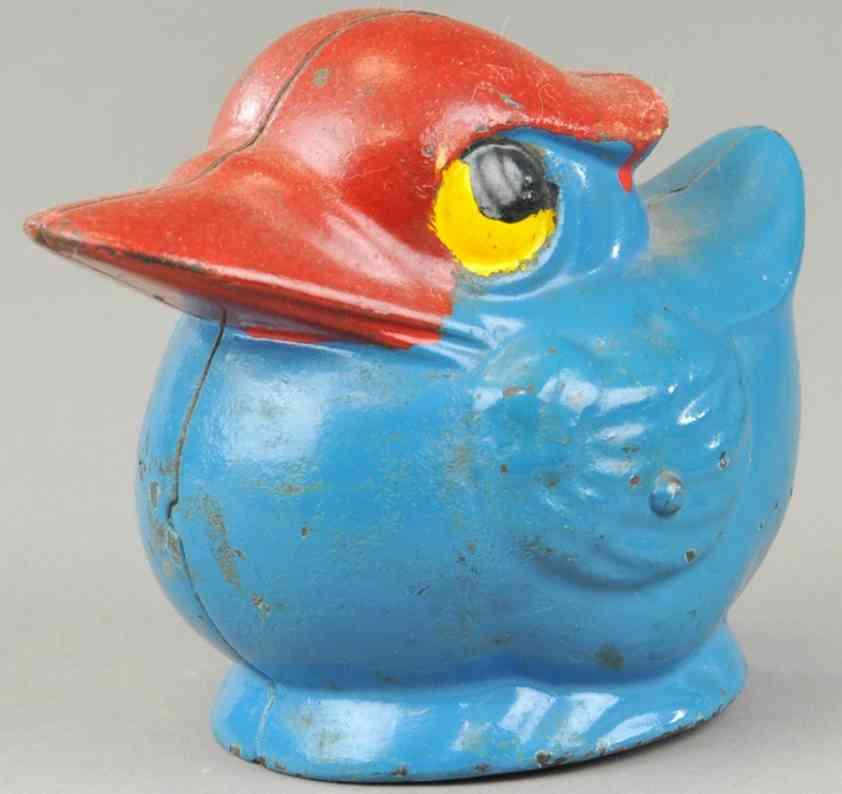 kenton hardware co cast iron toy round duck still bank blue