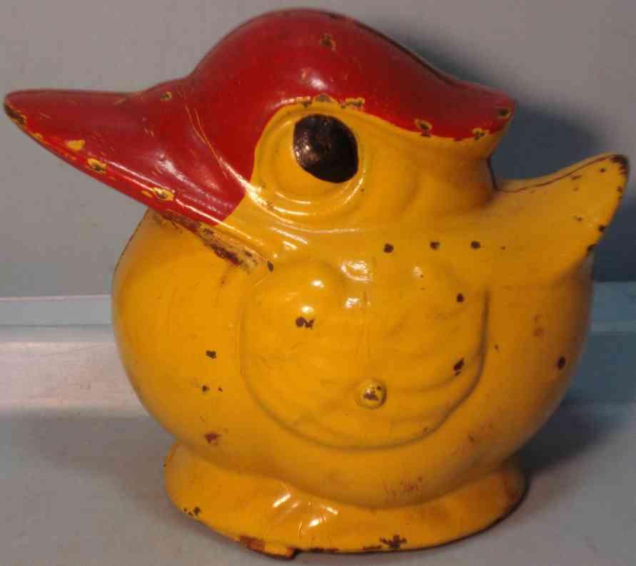 kenton hardware co cast iron toy round duck bank red yellow