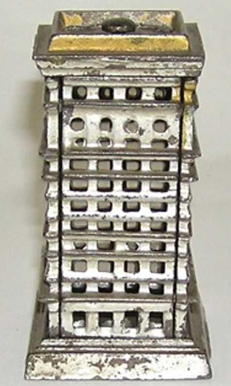 kenton hardware co cast iron toy high rise building as bank