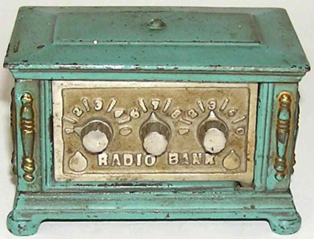 kenton hardware co spielzeug gusseisen spardose radio blau drei knoepfe