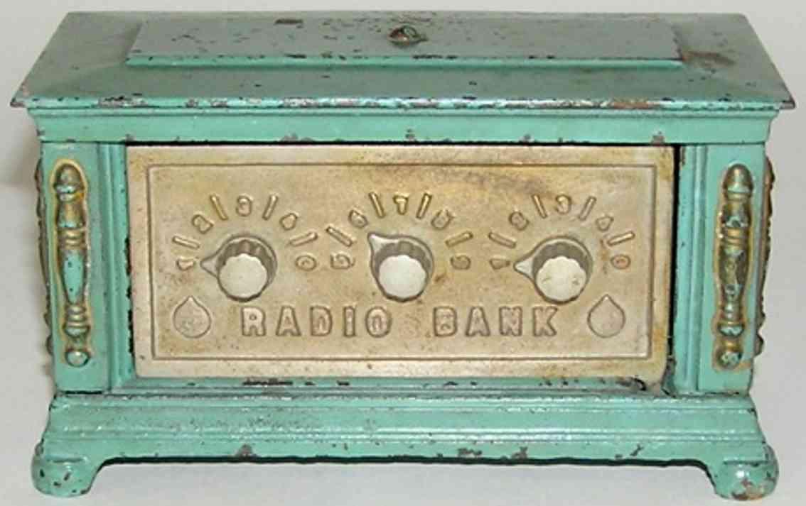 kenton hardware co spielzeug gusseisen spardose radio drei knoepfe blau