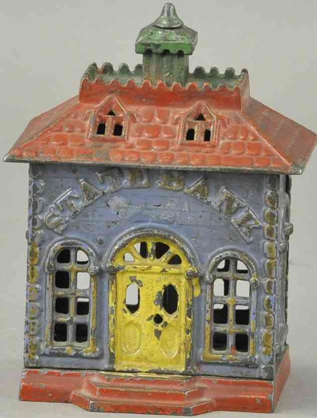 kenton hardware co cast iron toy state still bank painted