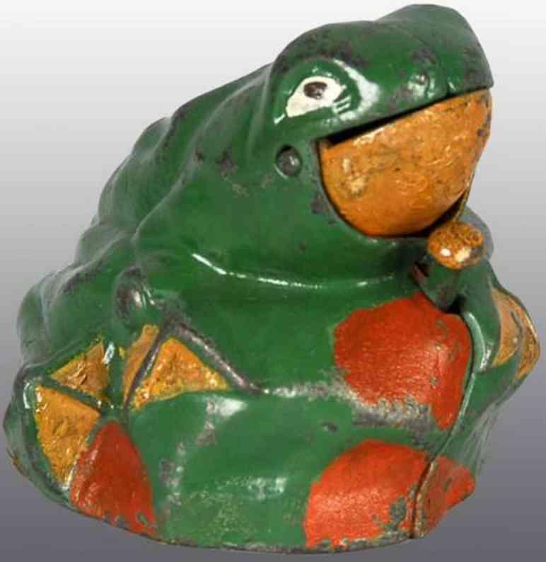kilgore spielzeug gusseisen frosch auf felsen als spardose