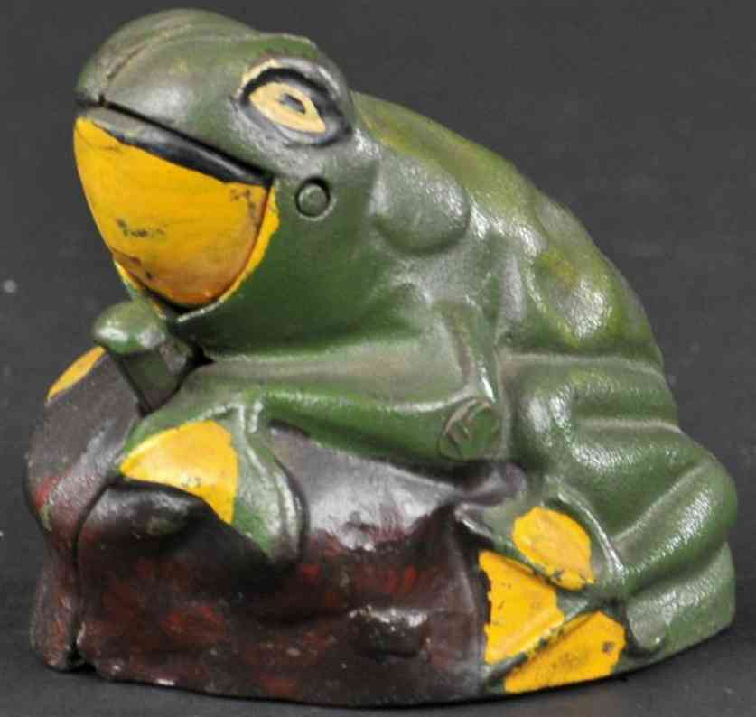 kilgore gusseisen spardose frosch auf felsen