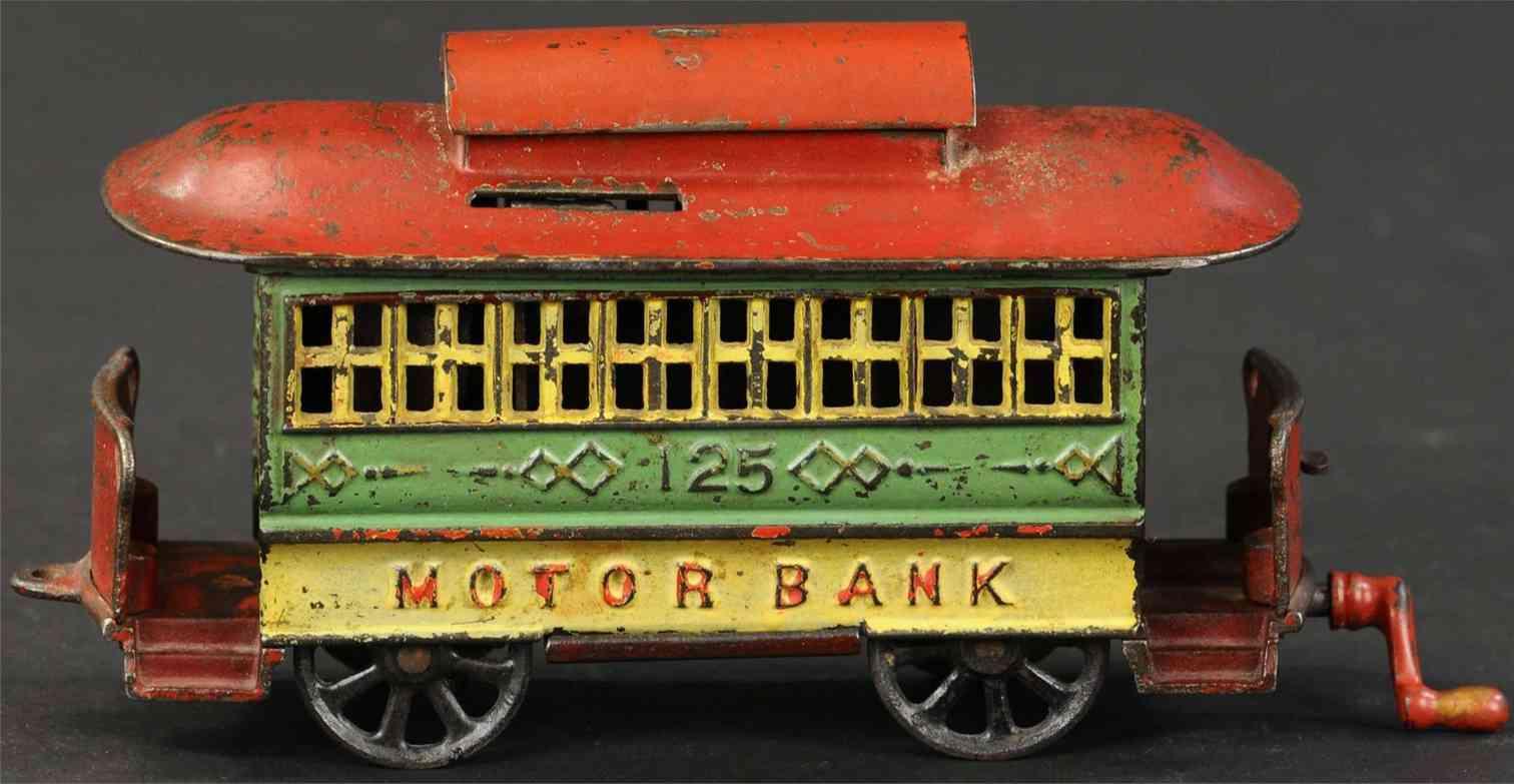 kyser & rex cast iron toy motor tram trolley mechanical bank green