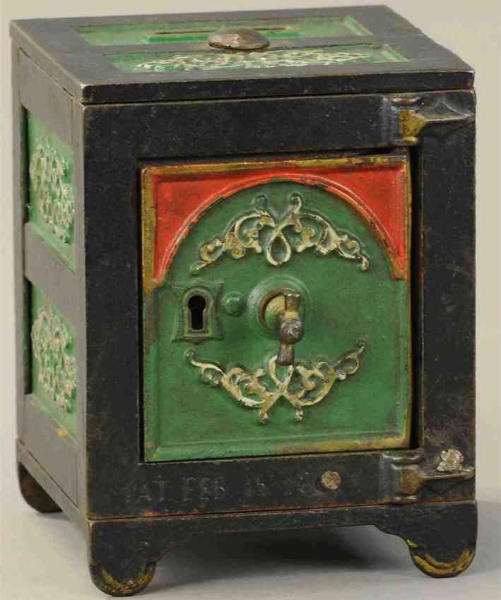 kyser & rex cast iron toy arched door safe with filigree still bank