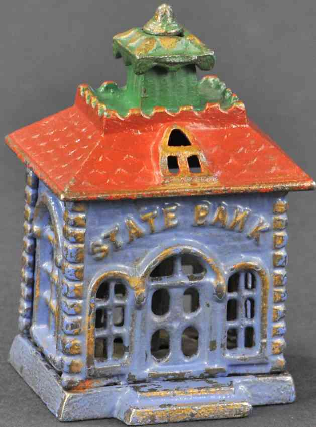 kyser & rex cast iron toy small state bank still bank light blue red green