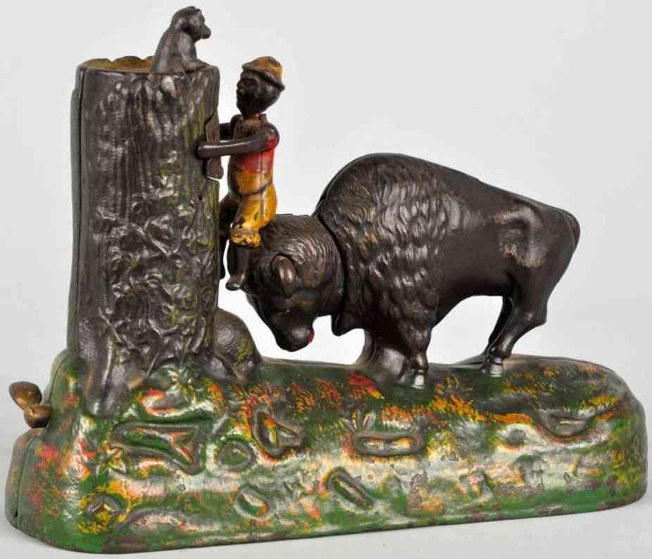 kyser & rex cast iron butting buffalo mechanical bank
