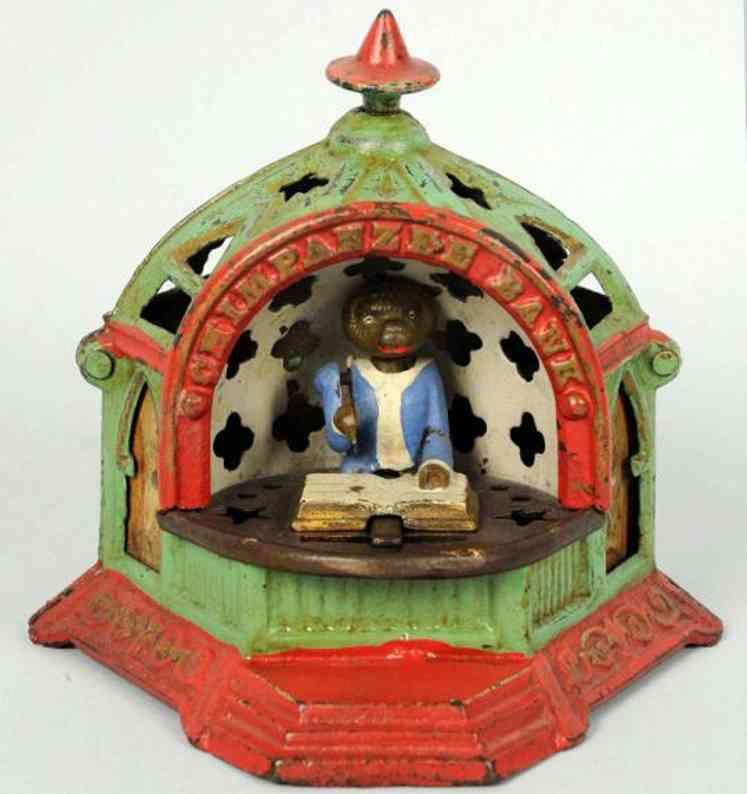 kyser & rex cast iron toy chimpanzee mechanical bankd