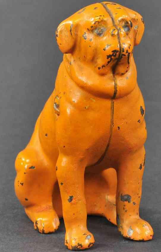 kyser & rex spielzeug gusseisen bemalter mops als spardose orange