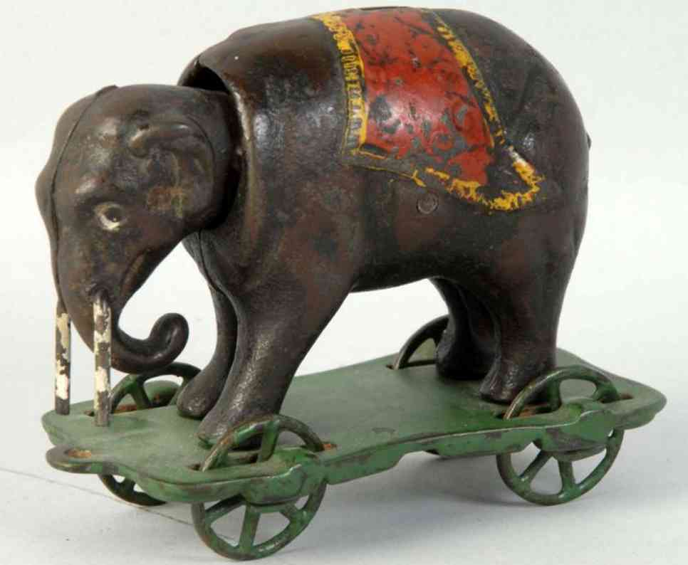 kyser & rex cast iron toy elephant with tusks mechanical bank