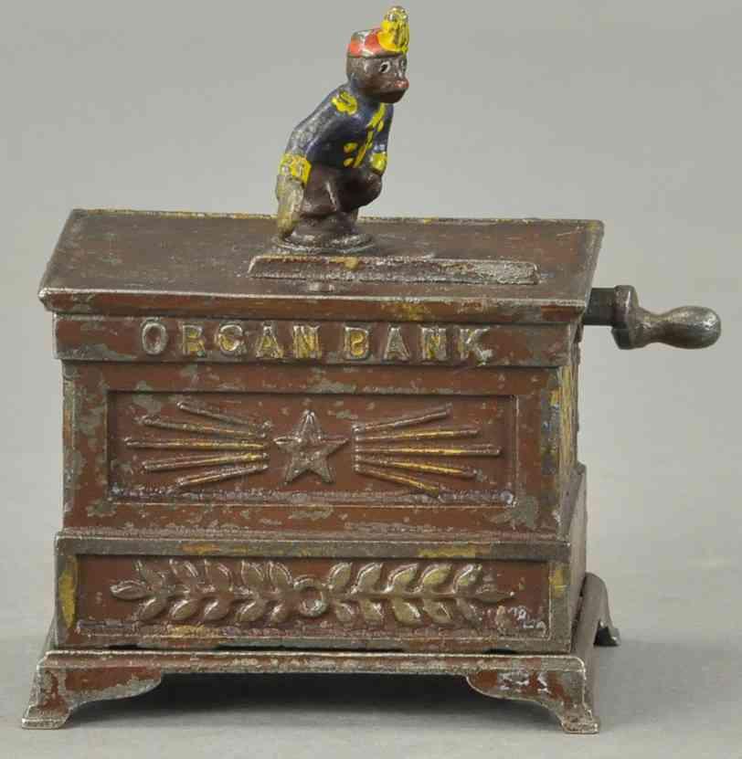kyser & rex spielzeug gusseisen spardose miniatur orgelbank mit affe blau